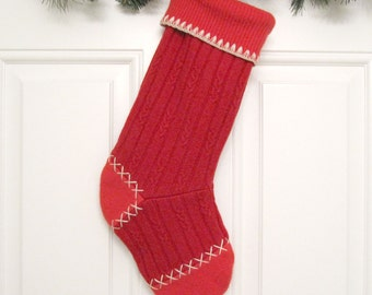 Red Cable Knit Customized Christmas Stocking Personalized Holiday Decoration Handcrafted from Felted Wool Sweater no664