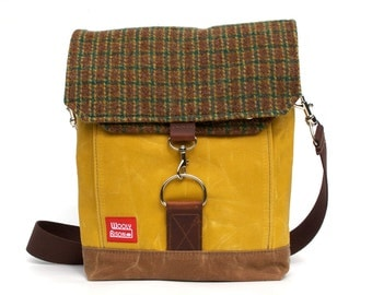 Waxed Canvas Satchel / Rust & Green Vintage Wool and Oiled Leather Messenger
