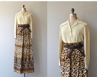 25% OFF.... Donald Brooks maxi dress | vintage 1960s leopard skirt | vintage 60s maxi dress