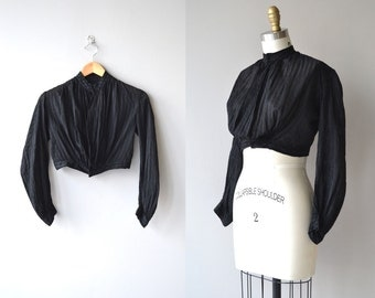 Beata antique shirtwaist blouse | antique Victorian blouse | black cotton 1800s shirtwaist