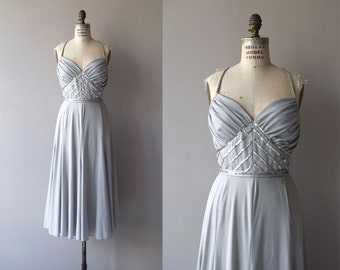 Bianca dress | vintage 1970s dress | grey sequin 70s party dress