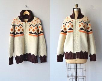 Autumn Cowichan cardigan   vintage 1950s wool cardigan   wool 50s cowichan sweater