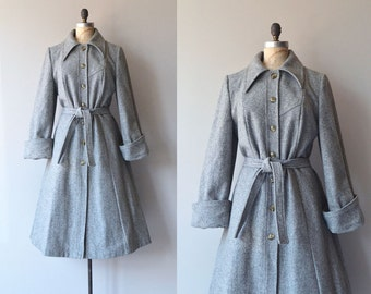 Battersea coat | vintage 1970s coat | grey wool 70s trench coat