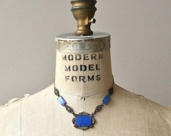25% OFF SALE Art Deco glass necklace   vintage 1920s necklace   czech glass 20s necklace