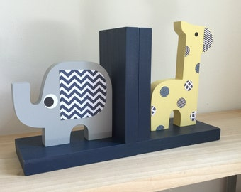 Navy Blue Safari Bookends, Children's Bookends, Elephant and Giraffe Bookends, Navy Blue, Safari Kids Decor, Safari Nursery, Elephant Decor