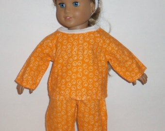 18 Inch Doll Pajamas, Orange Circles, Flannel PJ's, 15 Inch Baby Doll,  Winter Jammies, Sale Priced, American Made, Girl Doll Clothes