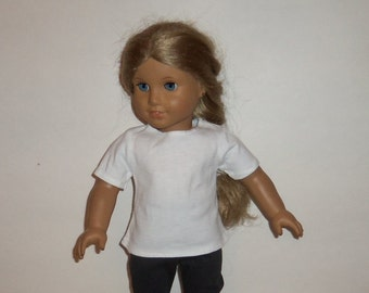 18 Inch Doll Shirt, White Cotton Tshirt, Short Sleeve Tee, Blouse,  American Made, Girl Doll Clothes