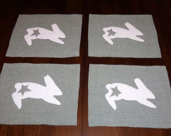 Quilted, Bunny Placemats, Set of Four, Primitive Rabbit, Green Homespun, 12x16 inches, Sale Priced,  Dining Table Décor
