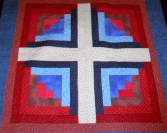 Quilted Table Runner, Dining Table Decor, Wall Hanging, Sale Priced, Americana Patriotic, Log Cabin, 35x35 inches, Machine Quilted