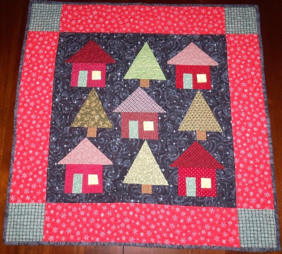 Quilted Wall Hanging, Fabric Wall Decor, Square Table Topper, 27x27 inches, Sale Priced, Winter Nights, Machine Quilted