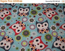 GROUNDHOG DAY SALE Lap Robe Throw Wheelchair Blanket Flannel Owls Reversible Green Batik Flannel
