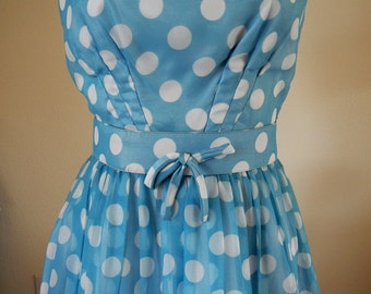 Vintage 1960s polka dot dress, Felice, sky blue, white chiffon, sleeveless, belted, S, XS, Repair lot