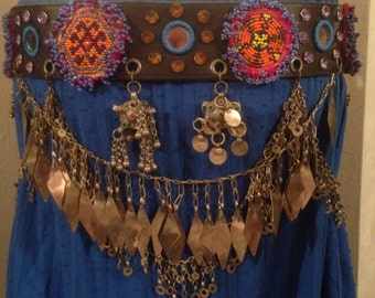 ATS, medallion, shisha, chain fringe, leather, Tribal belt
