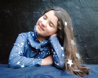 Girls Dress- ORGANIC Girls Dress- Galaxy Stars Cowl Neck Dress in Midnight Blue
