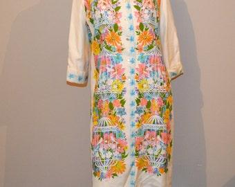 Vintage Dress Bird Cages & Flowers Miss Serbin
