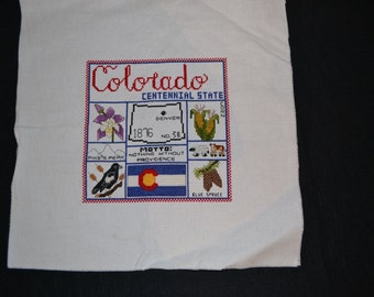Vintage Colorado Stitched Fabric Panel