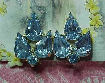 Vintage Light Blue Rhinestone Gold tone Clip on Earrings