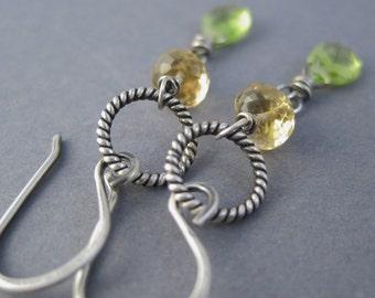 Citrine, Peridot Gemstone Earrings, Gemstone Dangles, Woodland Earrings