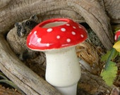 Ceramic Mushroom  Water Tender ....Water Globe System amanita shroomz Red Only