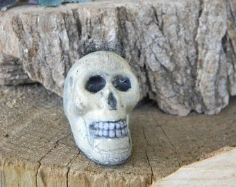 Skull head Statue for your terrarium    Skeleton-   Hand Painted Fall Halloween Decoration
