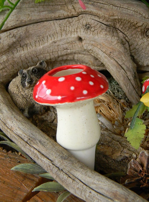 Ceramic Mushroom  Water Tender ....Water Globe System amanita shroomz Red Only