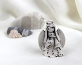 Reserved for Nancy - Little Angel with tiny bird -- Hand Made Ceramic Eco-Friendly Home Decor by studio Vishnya