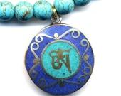 Nepal Om Mandala Pendant, Nepal Pendant, Tibet Mandala Necklace, Turquoise and Lapis  Mandala, Nepal Jewelry by AnnaArt72