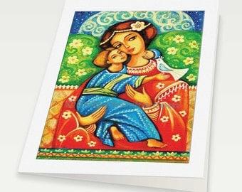 religious folk art icon Mary Jesus child Virgin Mary Madonna with Child Christian folk art, mother woman card, woman card, 6x8