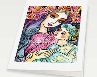Mother and child art motherhood art folk art mothers love nursery art, mother woman card, woman card, 6x8