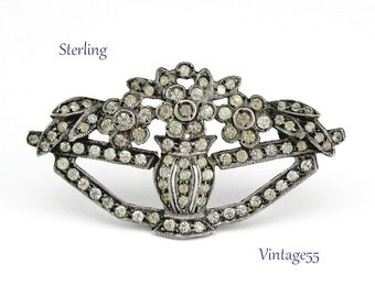 Brooch Sterling Rhinestone Flower Vase