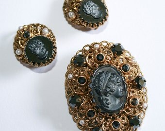 West Germany Cameo Brooch and Earrings Set
