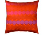 Marimekko Decorative Toss Pillow Cover - Rasymatto Bright Redish Orange , Purple - Finland 16x16, 18x18, 20x20