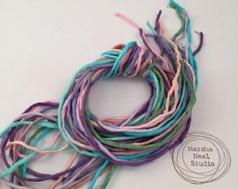 Silk Ribbon Cord Bundle Item No.363 Contains Ten 2mm Silk Ribbons Random Colors