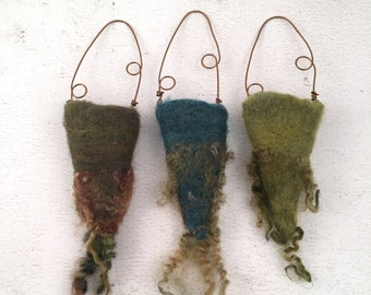 Wet Felted Vessels Set of Three Dry Vases Fiber Art Project Treasure Holder Delaware Fun A Day Project Set No.3