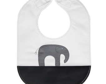 Leather baby or toddler bib with monochrome elephant design, reversible with a pocket - can be personalized or customized