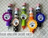 Halloween Teacher Gift Idea / Halloween Tags / Chocolate Candy Pencils / Gifts for Teacher /  Teacher Appreciation Present