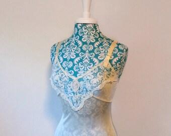 vintage 1960's slip // cream 60's slip dress // floral cameo lace bodice