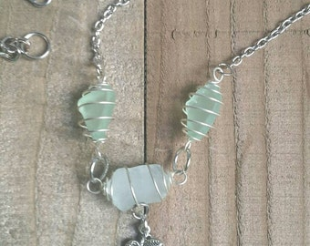 Sea Glass and Palm Tree Charm Silver Necklace