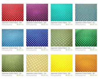 SALE Tiny Polka Dots Fabric - Colorful Dots Fabric - Japanese Cotton Fabric - Fat Quarter Fabric Bundle in 20 Colors