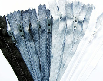 """YKK Zippers in Black Gray or White Zippers - 4"""" / 5""""/ 6""""/ 7""""/ 8"""" Your Choice of 5 YKK Nylon Zippers - 4 to 8 Inch"""