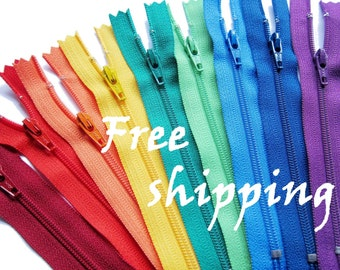"""FREE SHIPPING 100 pieces 9"""" 10"""" 12"""" 14"""" Inch YKK Zippers choose your color & length / #3 nylon coil closed-end Zippers 9 to 14 inch"""