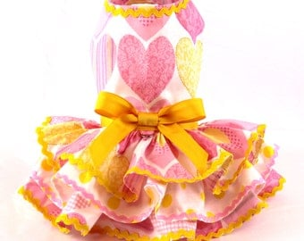 Valentine dog dress, dog dress, harness dog dress, Pastel Pink Hearts