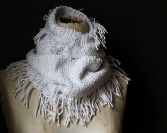 The Zadkiel Cavern Storyteller Scarf. Rustic Bohemian Hand Crocheted Snow White Infinity Circle Fringe Cowl Scarf.