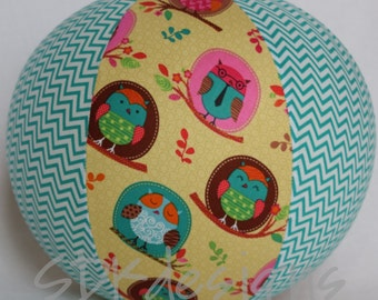 Fabric Balloon Ball Cover - TOY - Owls and Chevron