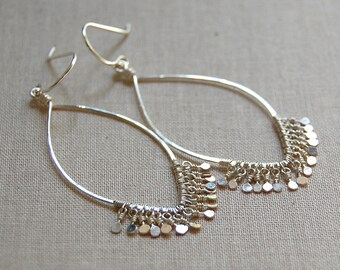 Marquise Shaped Sequin Earrings in Sterling Silver or Gold Filled