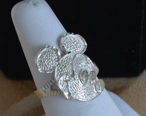 On sale Pretty Vintage Mickey Mouse Ring, Sterling Silver, Size 7 (W8)