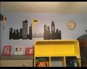Batman Room Decor - Super Hero Room Decal - Batman Gotham City - Skyline - Sticker