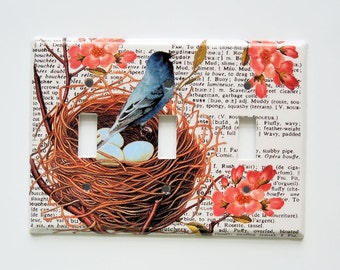 Bird Switchplate Cover, Single Light Switch, Shabby Cottage Decor, Vintage Book Page Bird, Electrical Outlet cover, Coral Blue Brown