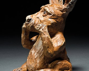 Arbutus the clay rabbit sculpture contemporary art animal