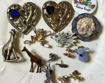 Animal brooch pin lot pigs giraffe frog lizard dinosaur koala
